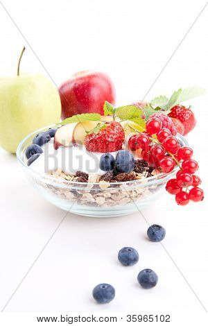 Deliscious Healthy Breakfast With Flakes And Fruits Isolated