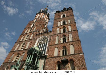 Mariacki Church In Clouds, Cracow, Poland