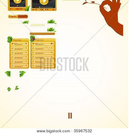 Set orange elements for web design