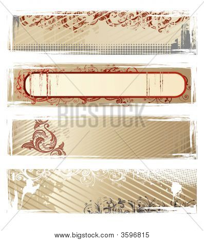 Set Of Vector Beige Grunge Banners