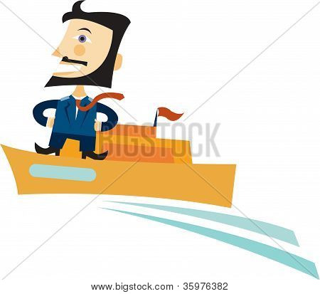 A Bearded Captain At The Helm Of His Motor Yacht