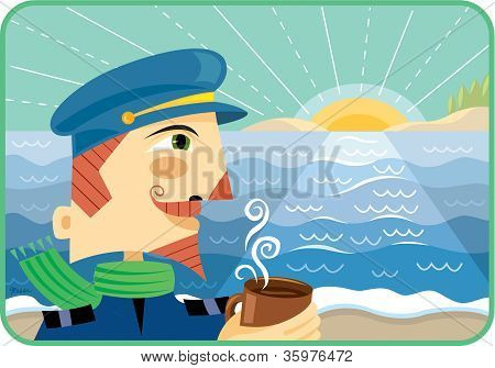 A Captain Holding A Cup Of Hot Coffee Watching The Sun Rise Over The Sea
