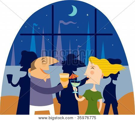 A Man And Woman Having Drinks At A Yacht Club