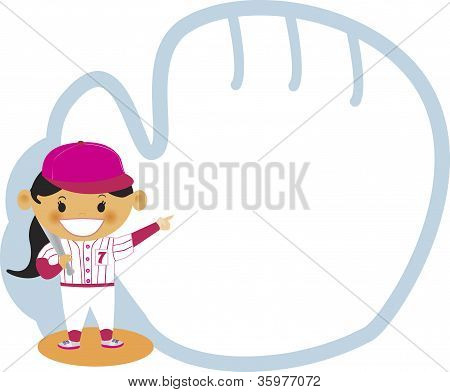 A Girl Pointing To A Baseball Mitt