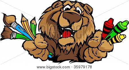 Feliz preescolar oso mascota caricatura Vector