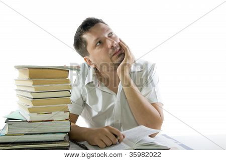 Man Reading Book In The Library