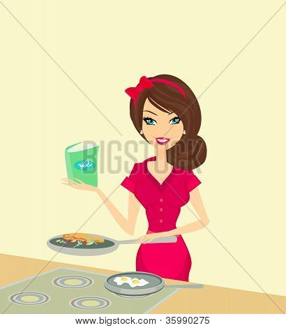 Beautiful Housewife Cooking