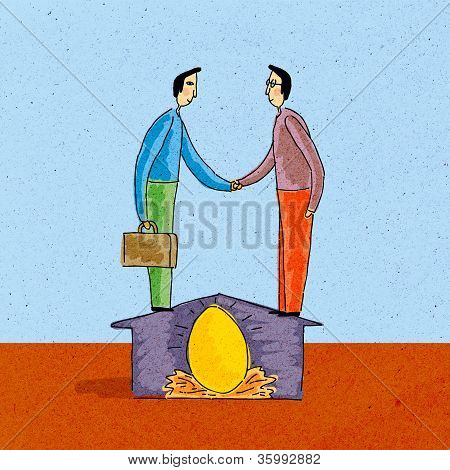 Two Men Shaking Hands; Standing On House; Over Nest Egg