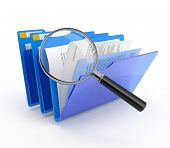 stock photo of virus scan  - Magnifying glass over the blue folders - JPG