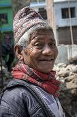 Old Nepali Man With Traditional Hat