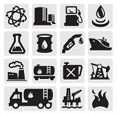 image of fuel tanker  - vector black oil and petrol icons set on gray - JPG