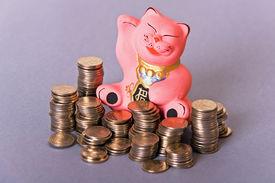 foto of obeah  - maneki neko pink cat among columns of coins - JPG