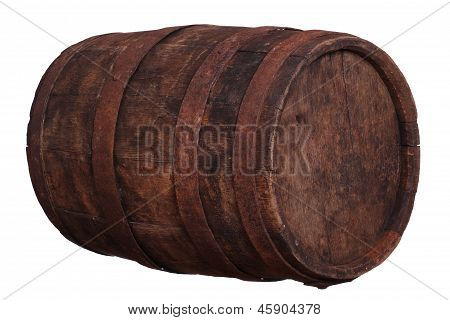 Sideview Of Wooden Barrel