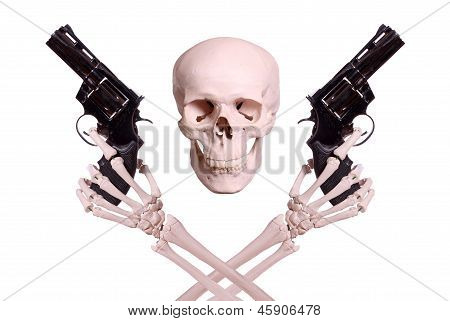Skull With Two Skeleton Hands Holding Guns
