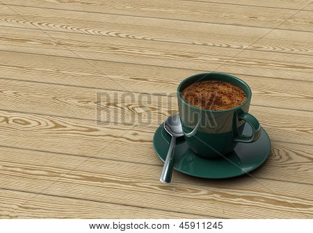 Cup Coffee On Wooden Table