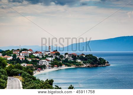 Town Of Gradac On Makarska Riviera And Island Brac In Background, Croatia