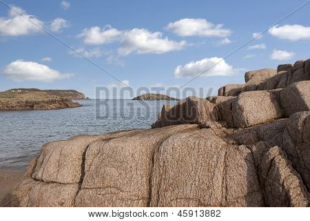 Old Natural Rock Formation On A Rocky Beach