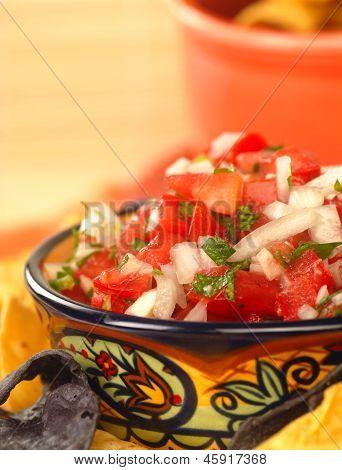 Delicious Fresh Pico De Gallo Salsa And Chips