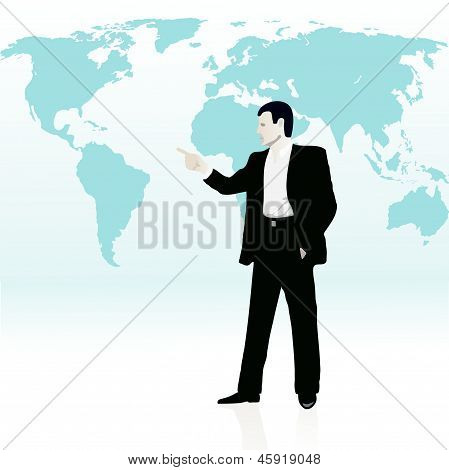 Businessman Near The Wold`s Map.eps