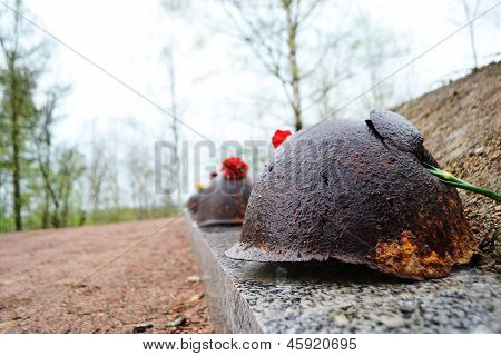 Old Steel Helmet On War Memorial
