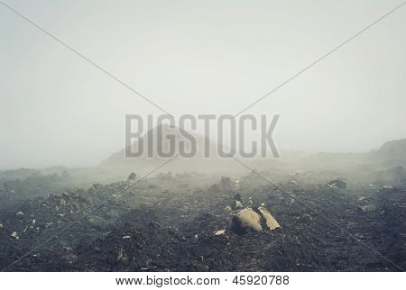 Spooky landscape with the fog