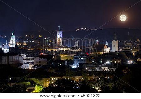 Full Moon Illuminates Lvov City At The Night
