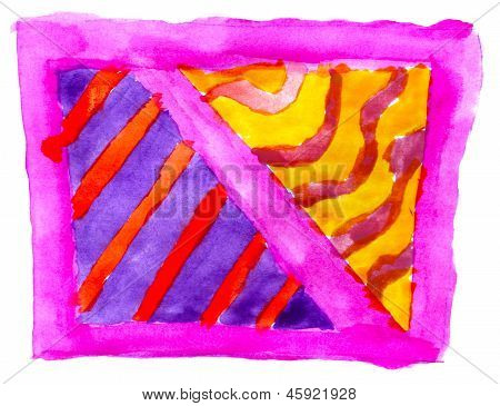 art daub watercolor violet blue ornament background abstract pap