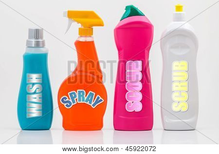 Household Cleaning Bottles 01-labels