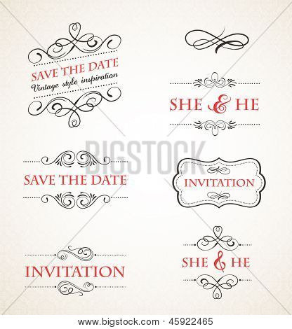 Vintage wedding invitations vector set