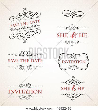 Vintage wedding invitations vector set