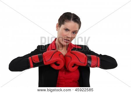 Woman getting her boxing gloves ready