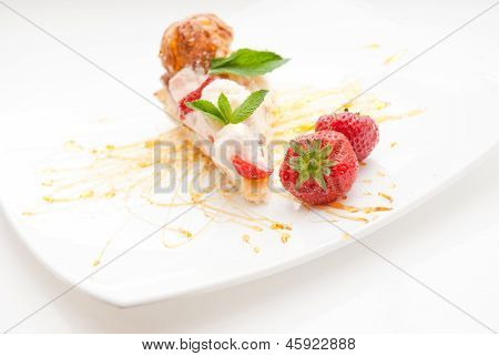 Classical Dessert with Strawberry and Mint