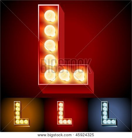 Vector illustration of realistic old lamp alphabet for light board. Red Gold and Silver options. Letter L