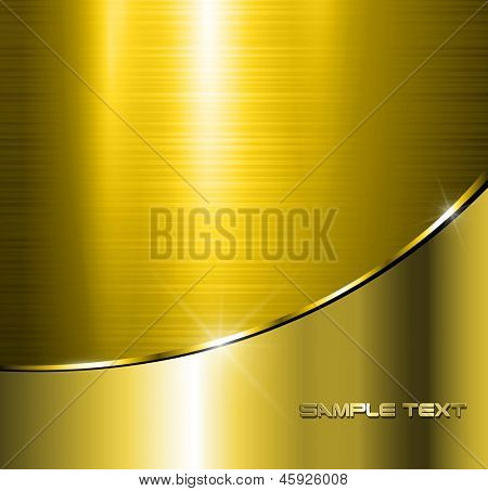 Metallic gold background polished steel texture, vector.