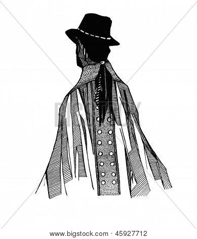 Isolated vector illustration of the back of a man with a ponytail, hat, and patterned cape
