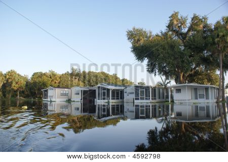 Flooded Trailer Park After Hurricane Fay