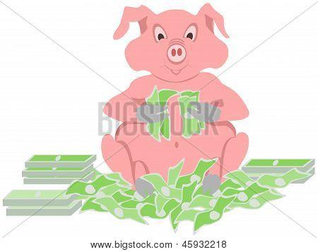 cerdo contando dinero