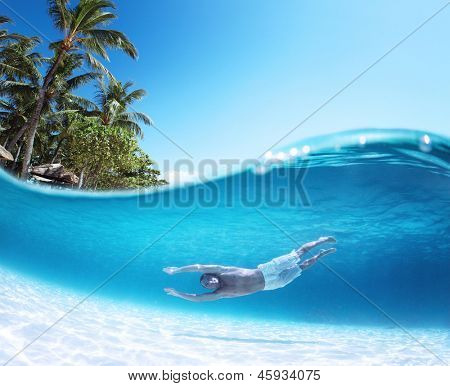 Collage with man gliding over sandy bottom underwater and palm trees on a surface