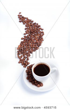 White Cup With Heat To Fragrant Coffees And Coffee Beans
