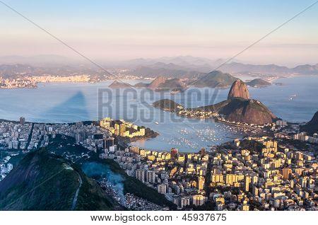 Sugarloaf, Botafogo Beach And Guanabara Bay At Sunset