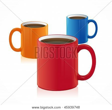 Vector three coffee cup set isolated on white