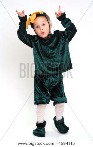 Grimacing Boy In Costume