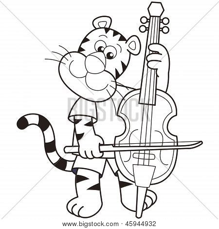 Cartoon Tiger Playing A Cello