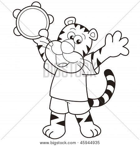 Cartoon Tiger Playing A Tambourine