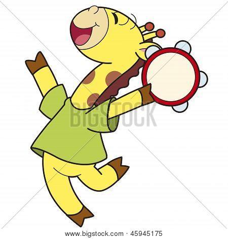 Cartoon Giraffe Playing A Tambourine