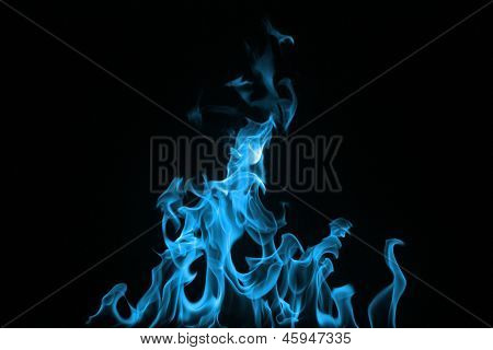 Blue Fire On A Black Background