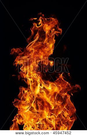 Fire On A Black Background