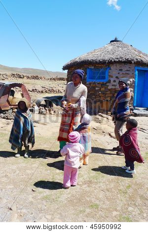 Unidentified family at Sani Pass, Lesotho on September 19, 2009 at altitude of 2,874 m
