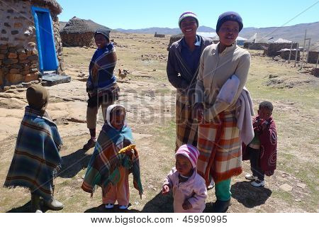 Unidentified family at Sani Pass, Lesotho on September 19, 2009 at altitude of 2 874m