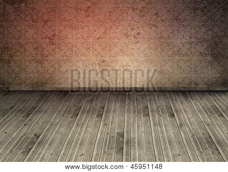 Outmoded wallpaper in an empty room with wooden boards on the floor